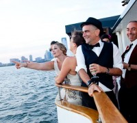 wedding reception on the deck of a yacht
