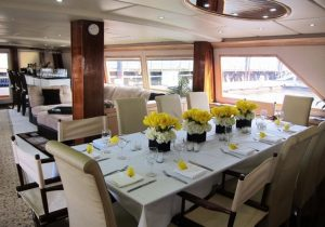 NYC yacht interior dining area